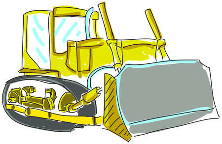 mirrow: Drawn colored excavator on white. Vector illustration Illustration