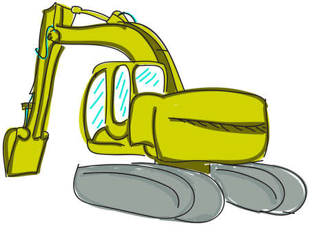 mirrow: Drawn colored digger on white. Vector illustration