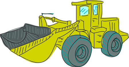 mirrow: Drawn colored excavator on white. Vector illustration Illustration