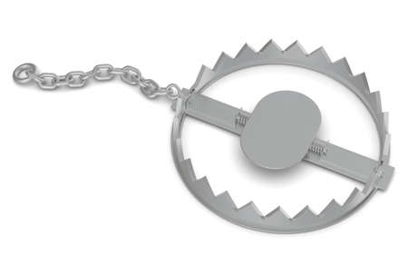 bear trap: Bear trap with chain on isolated white background, close-up view