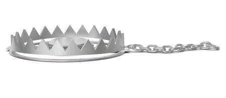 bear trap: Bear trap with chain on isolated white background, side view