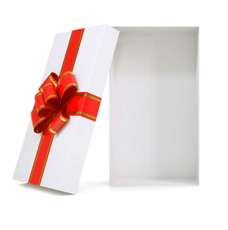 gold gift box: Gift box with ribbon on isolated white background Stock Photo