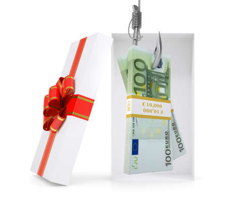 fishhook: Euro on fish-hook in gift box with ribbon on isolated white background