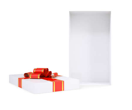giftware: White gift box with ribbon on isolated white background