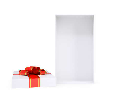 Open gift box with ribbon on isolated white background Stock Photo