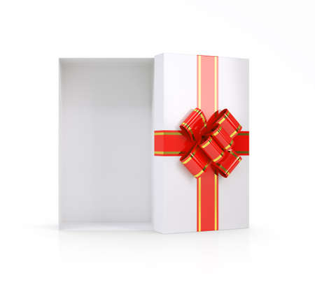 gold gift box: Gift box with ribbon on isolated white background, top view