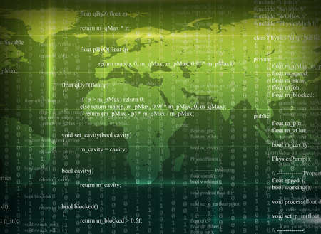 numbers abstract: Green abstract background with world map, numbers and matrix Stock Photo