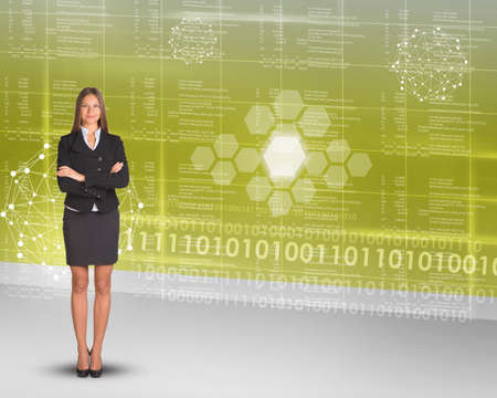 businesslady: Businesslady looking at camera on abstract background with numbers