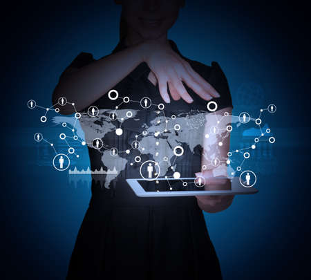 businesslady: Businesslady with tablet and 3d world map on abstract blue background Stock Photo