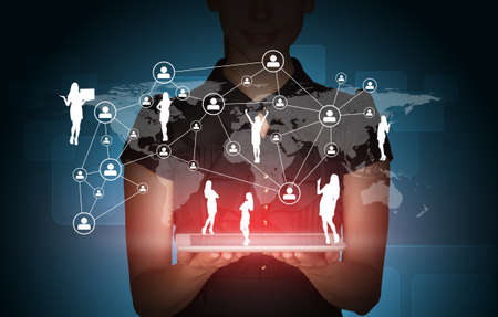 businesslady: Businesslady with tablet, 3d world map and businesspeople silhouette on abstract blue background