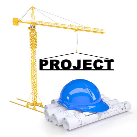 construction project: Building crane with construction project on isolated white background
