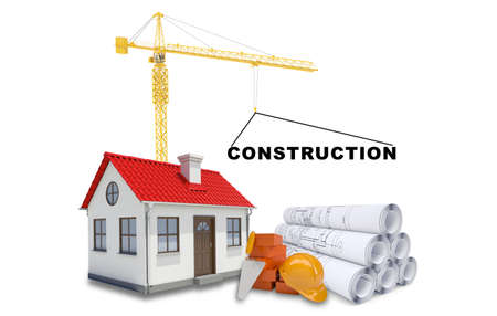coziness: Building crane with sketches and house on isolated white background Stock Photo