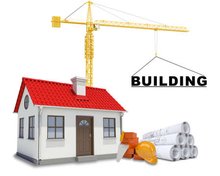 tower crane: Tower crane with house and bricks on isolated white background Stock Photo