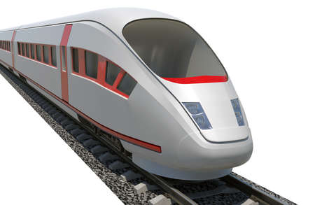 closeup view: Train on isolated white background, close-up view Stock Photo