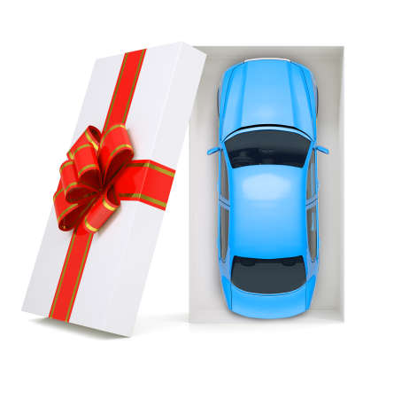 tailpipe: Car in gift box with ribbon on isolated white background, top view