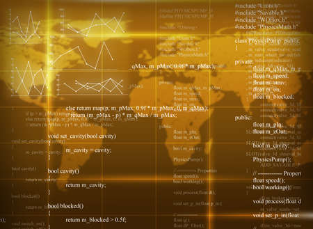 map: Yellow abstract background with world map and matrix Stock Photo