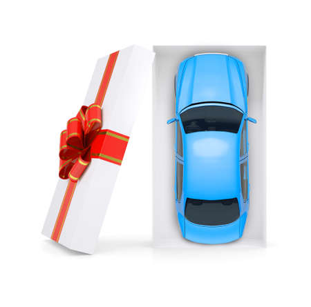 giftware: Blue car in gift box with ribbon on isolated white background, top view