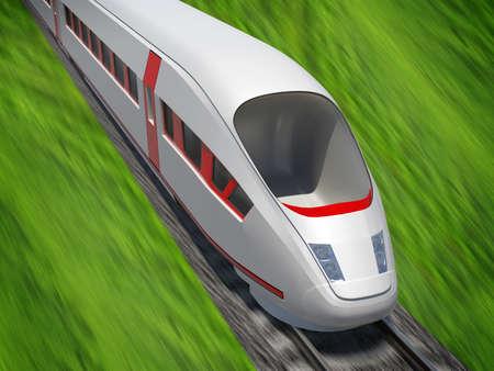 railtrack: Modern train moving forward on rail-tracks on nature background