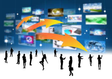 holographic: Commerciali popoli silhouette con olografica schermi sfondo