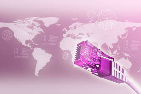 background purple: Computer cables on abstract purple background with world map