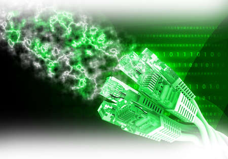 fondo verde abstracto: Green computer cables on abstract green background with energy
