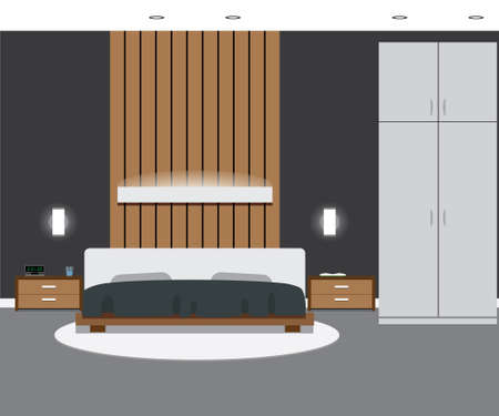 bedside: Bedroom interior in grey colors. Vector illustration