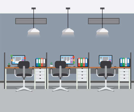work places: Office interior with three work places Vector illustration