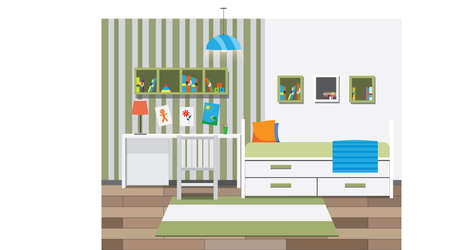 children room: Children room interior with bookshelves. Vector illustration