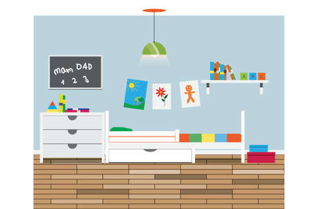 children room: Children room interior with pictures. Vector illustration