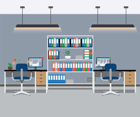 office interior: Office interior with tables and computers. Vector illustration