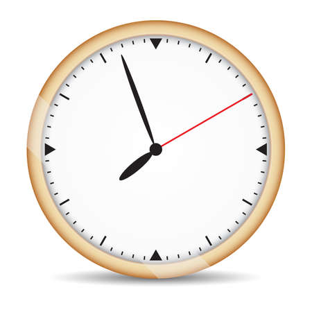 second hand: Round clock with brown frame and red second hand on isolated white background. Vector illustration Illustration