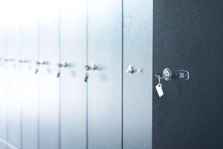 lockers: Metal lockers with keys, close up view