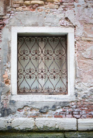 window grill: Window with in old-fasioned house with grill