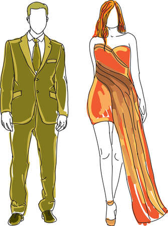 guy standing: Drawn man and woman standing together. Vector illustration Illustration