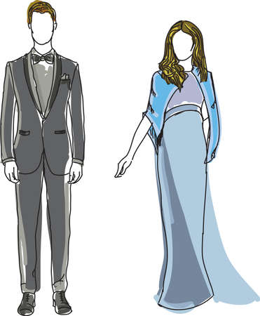 blue dress: Drawn man in suit and woman in blue dress standing together. Vector illustration Illustration