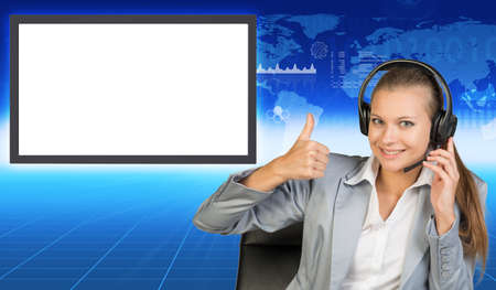 businesslady: Smiling businesslady in chair and earphones on abstract blue background with molecule