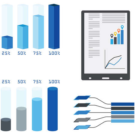 graphical chart: Drawn graphs with numbers on white background, vector illustration Illustration