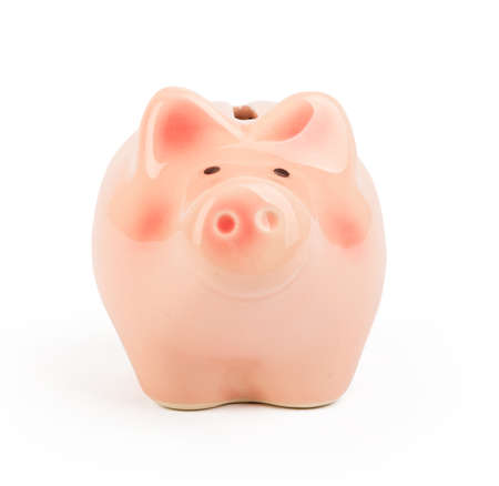 front view: Small piggy bank on isolated white background, front view Stock Photo