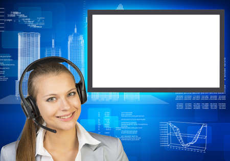 businesslady: Smiling businesslady in earphones on abstract blue background with molecule