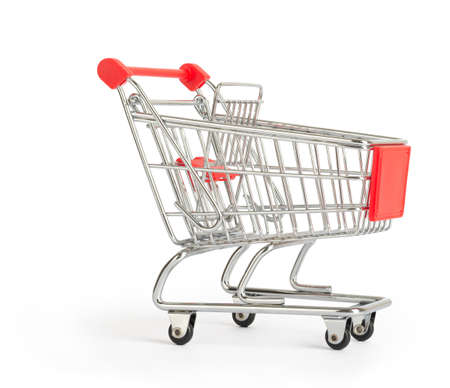 close up view: Shopping cart on isolated white background, close up view view