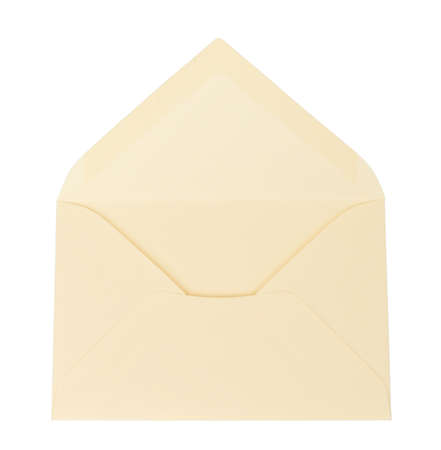 open: Open white envelope on isolated white background, close up view