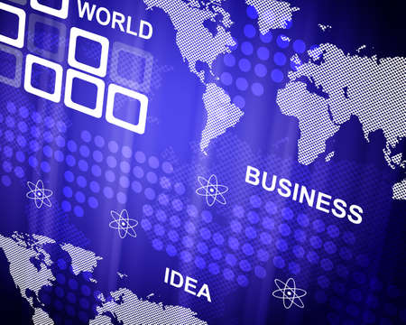 ides: Abstract blue background with world map and business words