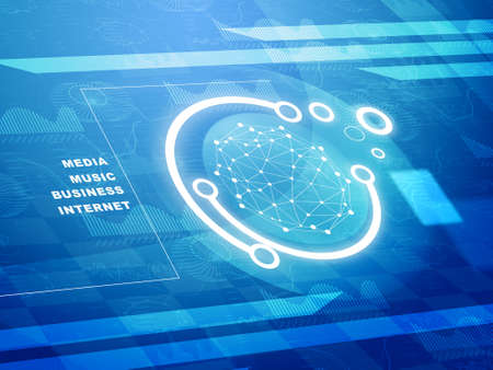 graphical: Molecule on abstract blue background with graphical charts