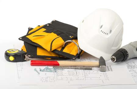 tool belt: Helmet with tool belt on draft background