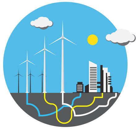 wind farm: Colorful wind farm with sun in round Illustration