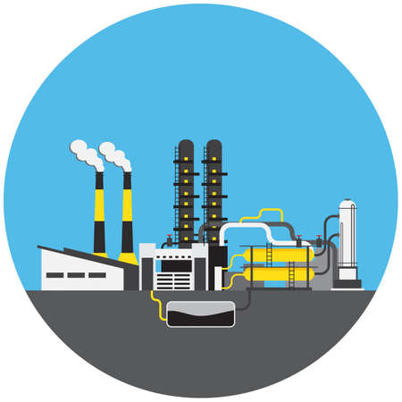 npp: Colorful factory with NPP picture in round