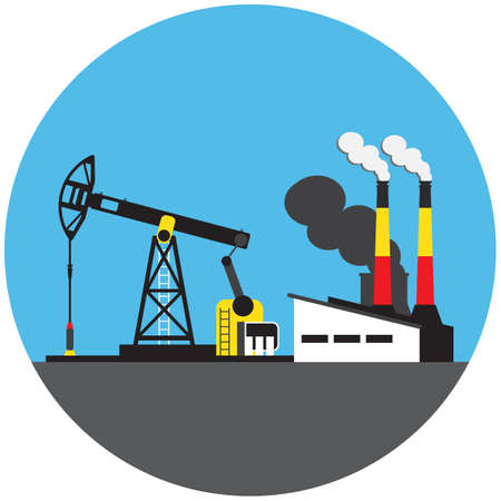 oil derrick: Colorful factory with oil derrick picture in round Illustration