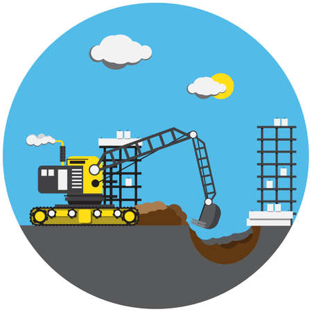 digger: Colorful picture of digger in round with blue sky Illustration