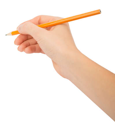 hand with pencil: Humans hand holding pencil on isolated white background Stock Photo