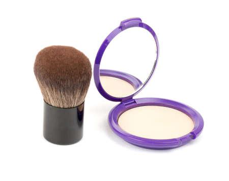 face powder: Face powder with kabuki brush on isolated white background Stock Photo